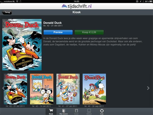 Donald Duck in tijdschrift.nl app