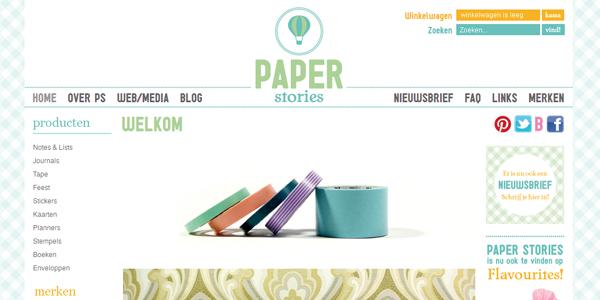 Printscreen van Paperstories.nl