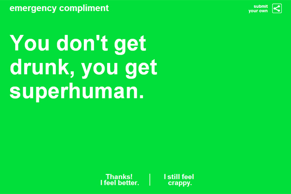 Emergency Compliment; superhuman