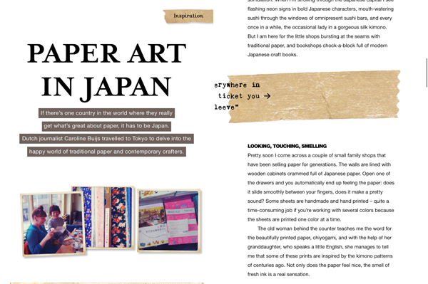 iPad app van Flow magazine; paper art in Japan