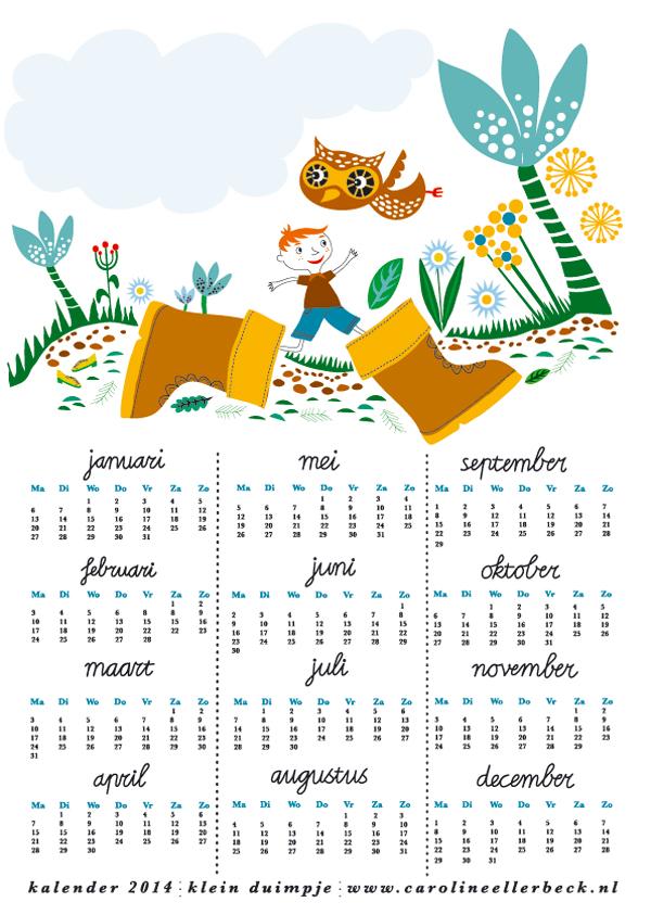 Een creatief 2014 - kalender van Caroline Ellerbeck