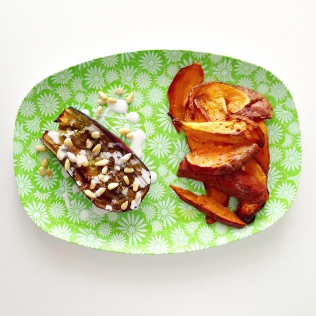 Aubergine en zoete aardappel
